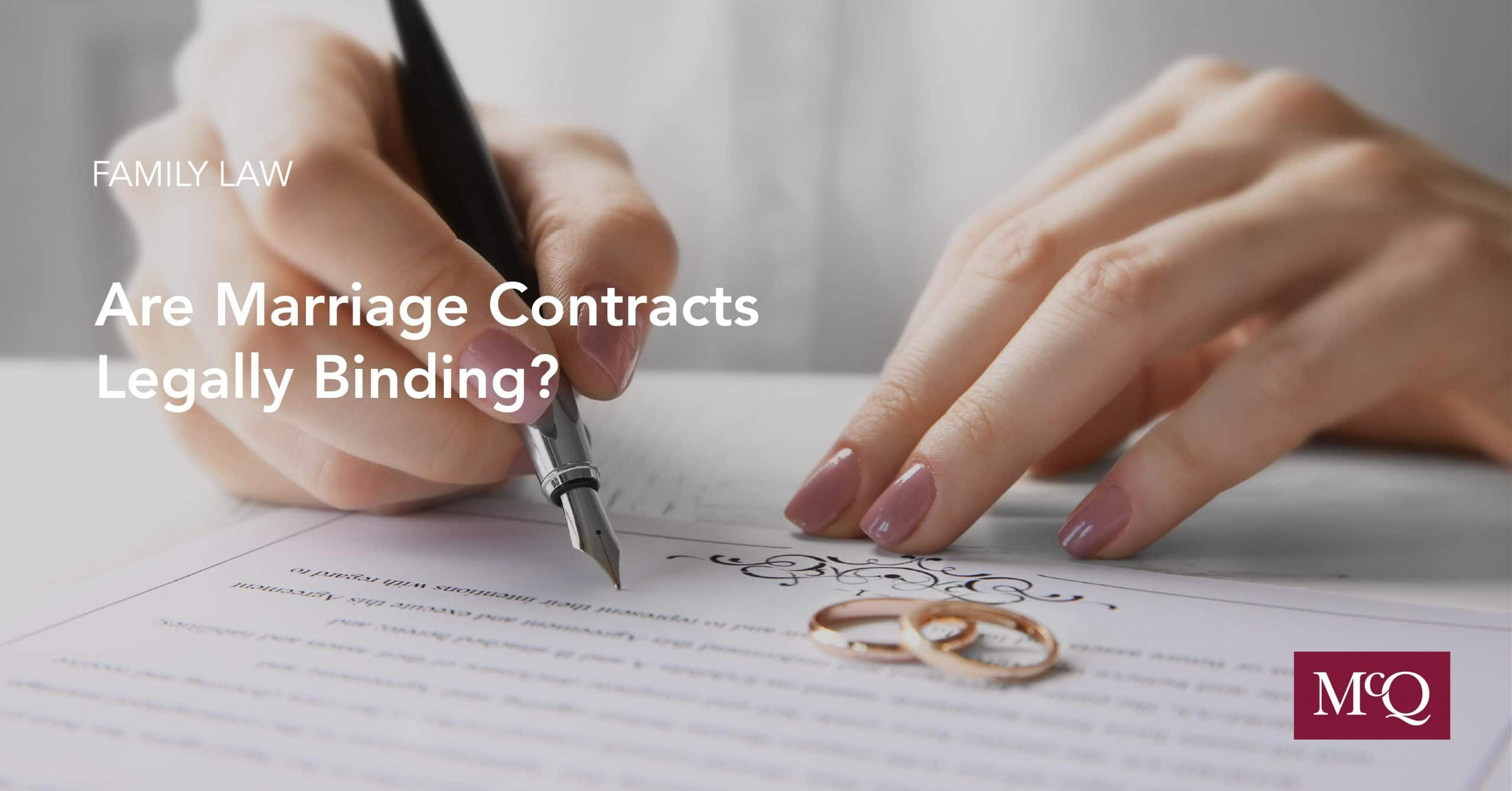 Family Lawyers Answer - Are Marriage Contract Legally Binding? - Blog Cover